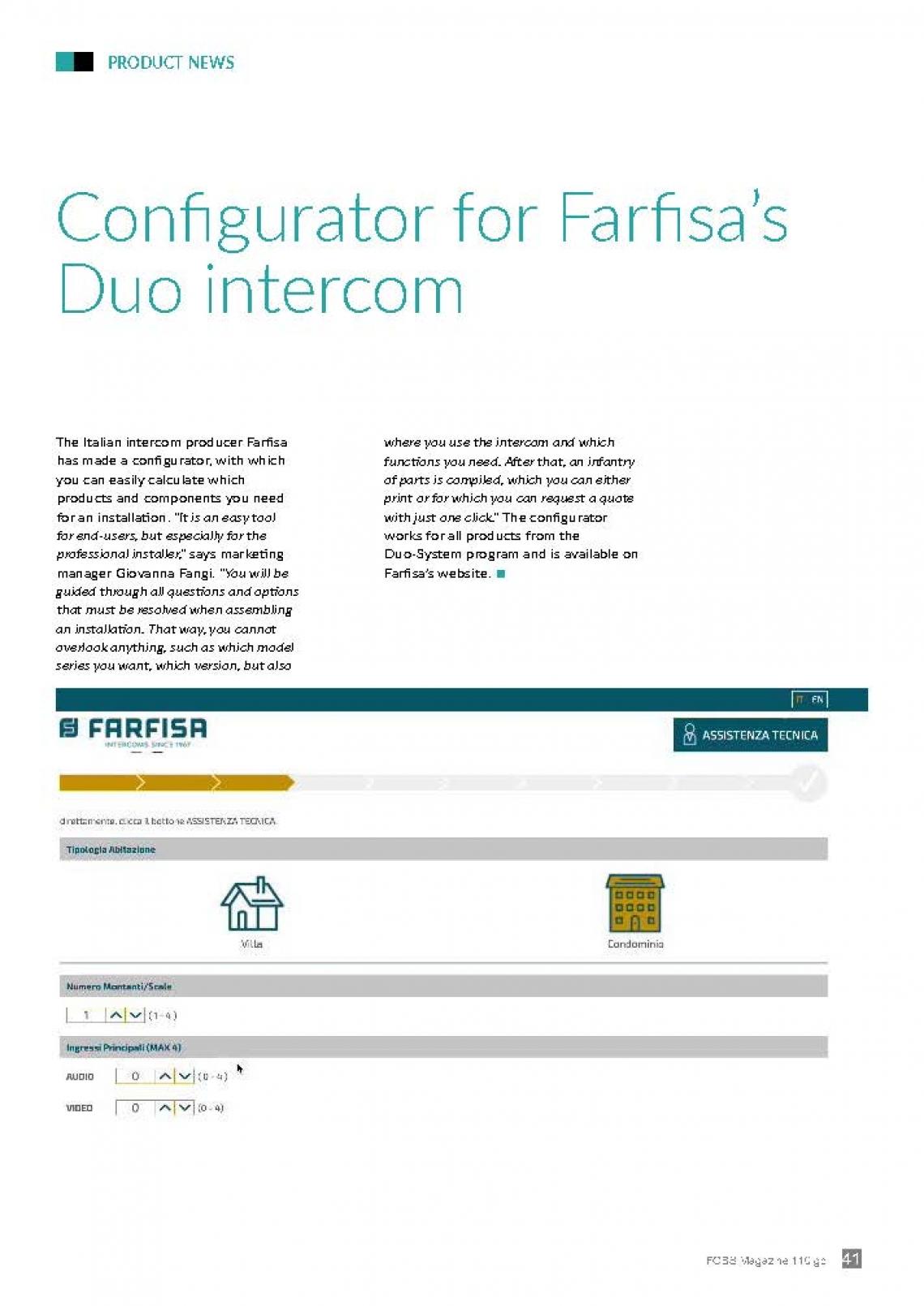 Configurator for Farfisa's Duo