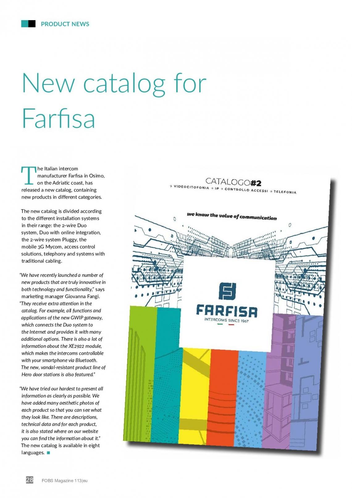 El nuevo catálogo de Farfisa