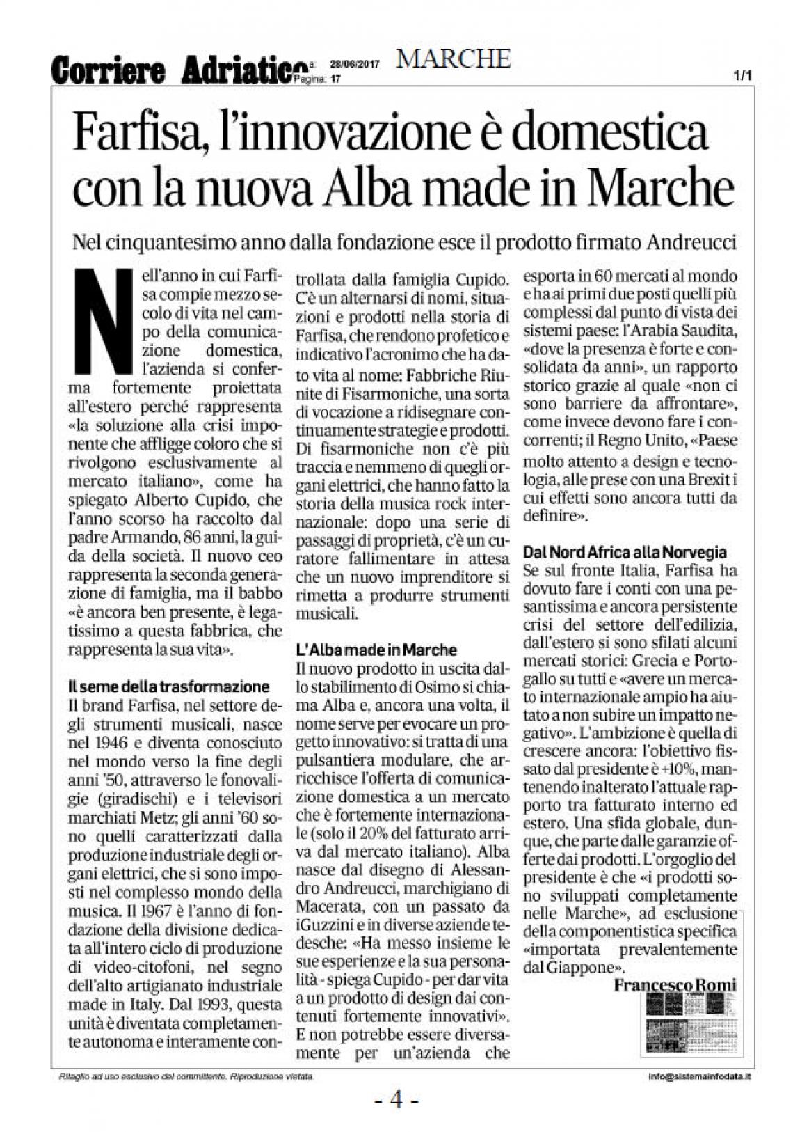 Farfisa, l'innovazione è domestica con la nuova Alba made in Marche