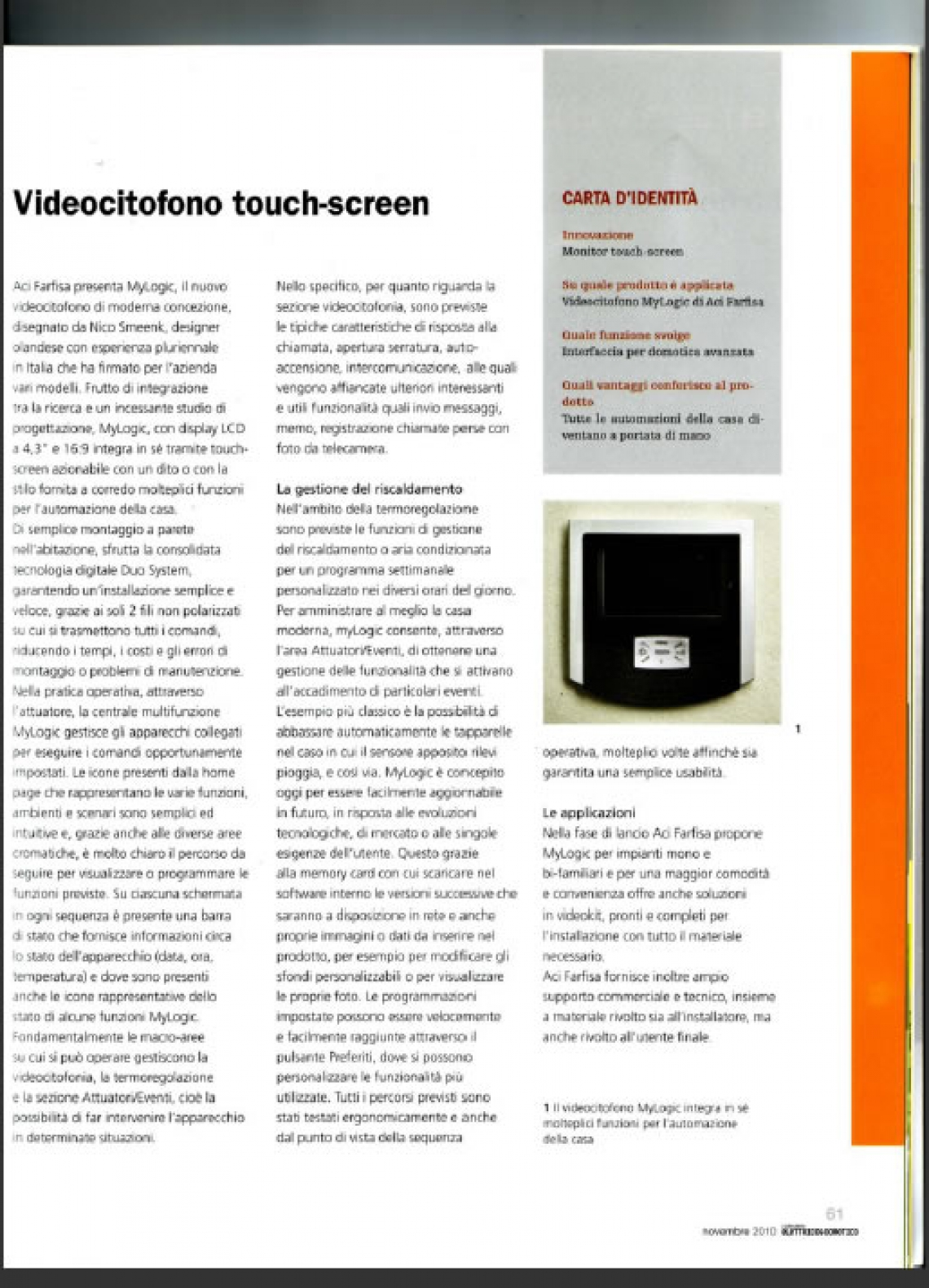 myLogic Videocitofono touch-screen
