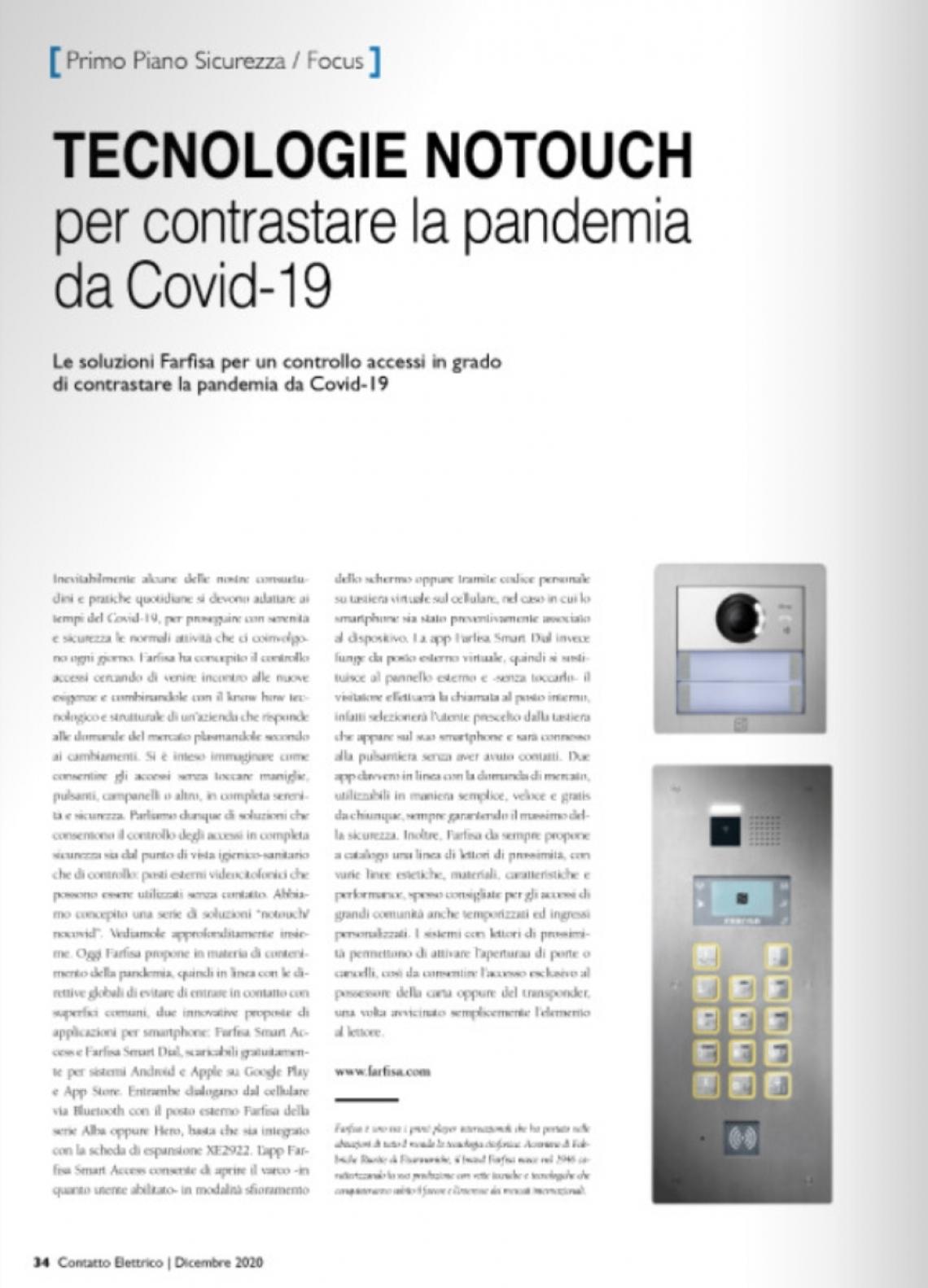 Tecnologie Notouch per contrastare la pandemia da Covid-19